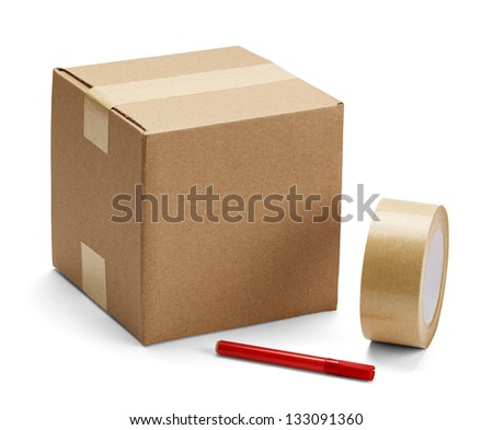 Brown cardboard box with packing supplies on isolated on white background.