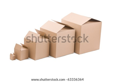 Brown cardboard boxes arranged on white background
