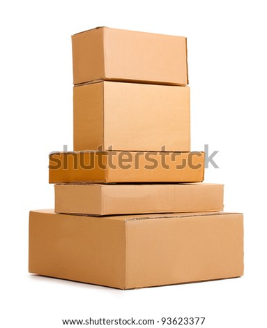 Brown cardboard boxes isolated on white