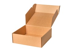 Brown cardboard carton box, isolated
