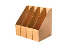 Brown cardboard carton desk file document holder, organizer