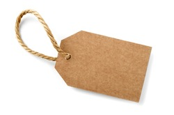 brown cardboard label with slim rope cord, isolated