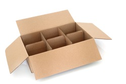 Brown cardboard packaging delivery box with six compartments on white background.