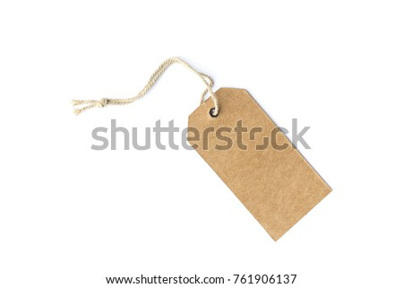 Shutterstock brown cardboard price tag or label with thread isolated white background.