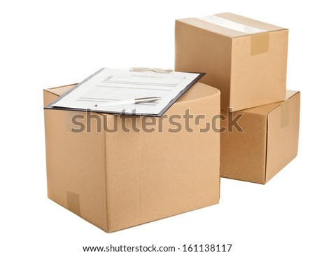 Brown carton boxes with clipboard and package delivery form on white background