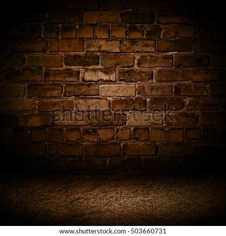 Brown cement brick with border black vignette background Studio backdrop - well use as back drop background, black board, black studio background, black gradient frame.
