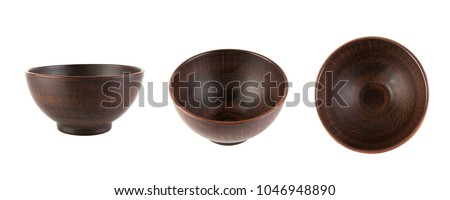 Brown ceramic bowl isolated on white. View from side and from top #1046948890
