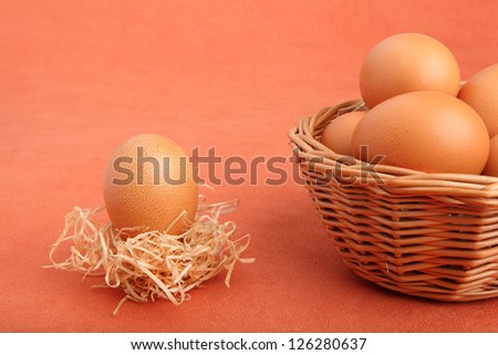 Brown chicken egg in straw nest and eggs in the basket