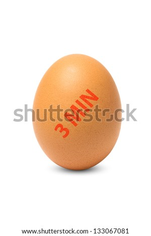 Brown chicken egg with time stamp, isolated on a white background