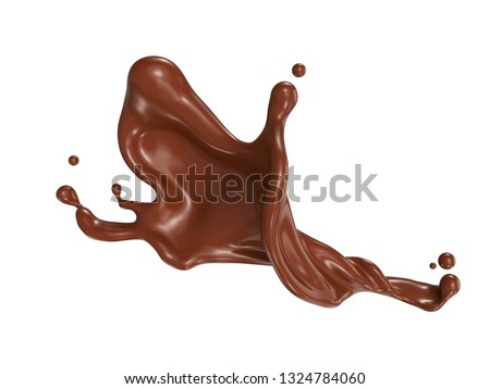 brown chocolate splash isolated on background, 3d rendering Include clipping path.