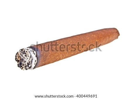 Brown cigar burned on white background