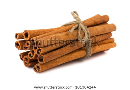 Brown cinnamon sticks isolated on white background