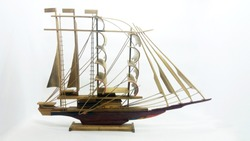 Brown Classic Old Retro Vintage Wooden Ship in White Isolated Background