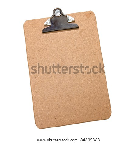 Brown clipboard on white background