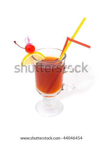 brown cocktail in glass stemware with straws decorated with cherry and lemon, clipping path