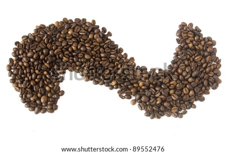 Brown coffee beans background isolated on white