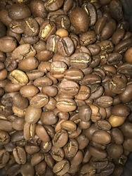 Brown coffee beans background texture
