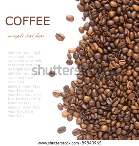 Brown coffee beans background with sample text