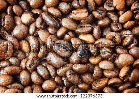 Brown coffee beans, closeup of coffee beans for background and texture