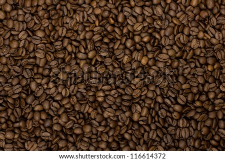 Brown coffee beans, coffee beans for background and texture