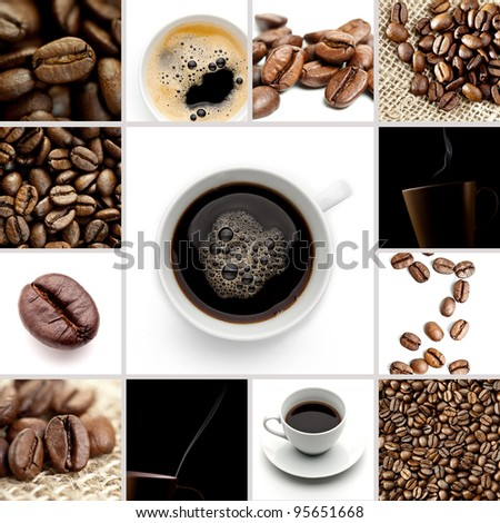 Brown Coffee Cup Beans collage