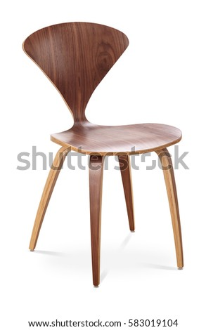 Brown color chair, wooden, classic chair, modern designer. Chair isolated on white background. Series of furniture #583019104
