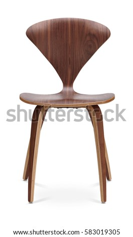 Brown color chair, wooden, classic chair, modern designer. Chair isolated on white background. Series of furniture #583019305