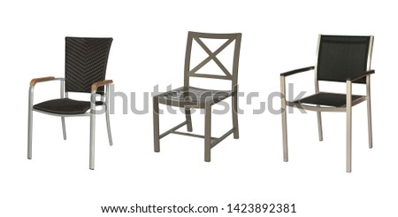 Brown Color Plastic Wicker Texture Armchairs with Grey Color Metal Armchair on White Background #1423892381