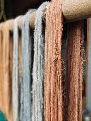 Brown Colored Weaving Yarn being Dried