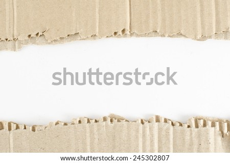 Brown Corrugated paper ripped on white paper background