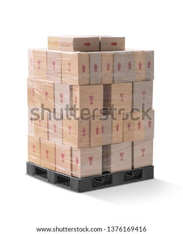 brown corrugated paperboard boxes wraping and stack on black plastic pallet isolated on white background with clipping path