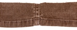 Brown cotton traditional corduroy retail in middle, with tattered around, against white background