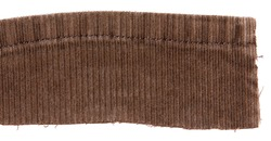 Brown cotton traditional corduroy retail, with tattered around, against white background