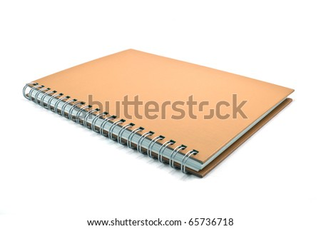 brown cover of notebook isolated on white background
