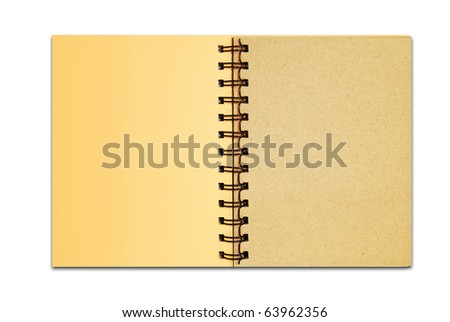brown cover recycle paper blank notebook open two page isolated on white background for multipurpose use