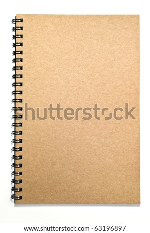 brown cover recycle paper notebook isolated on white background
