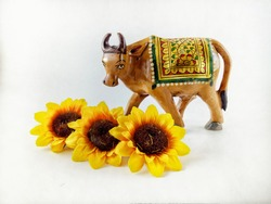 Brown Cow or Bull with Yellow Sun Flowers. Ox Zodiac Animal Isolated in White Background