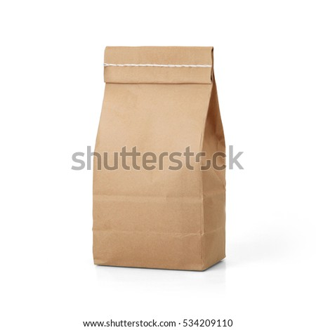 Brown craft paper bag packaging template with stitch sewing isolated on white background. Packaging template mockup collection. With clipping Path included. Stand-up pouch Back view package #534209110