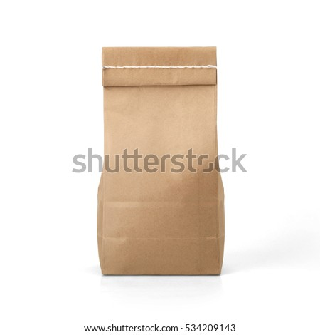Brown craft paper bag packaging template with stitch sewing isolated on white background. Packaging template mockup collection. With clipping Path included. Stand-up pouch Back view package #534209143