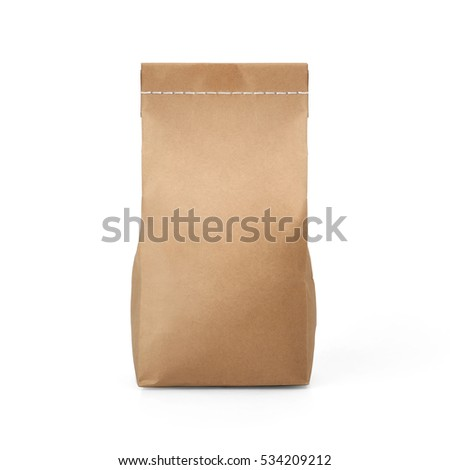 Brown craft paper bag packaging template with stitch sewing isolated on white background. Packaging template mockup collection. With clipping Path included. Stand-up pouch Front view package #534209212