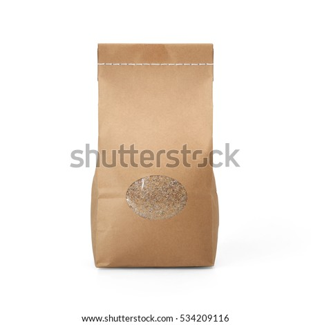 Brown craft paper groats bag packaging template with stitch sewing isolated on white background. Packaging template mockup collection. With clipping Path included. Stand-up pouch Front view package #534209116