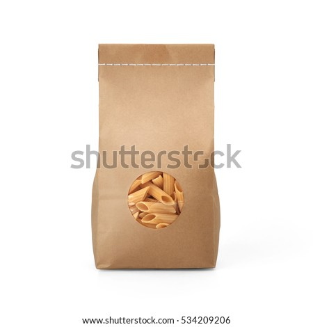 Brown craft paper pasta bag packaging template with stitch sewing isolated on white background. Packaging template mockup collection. With clipping Path included. Stand-up pouch Front view package #534209206