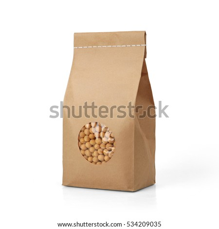 Brown craft paper peas bag packaging template with stitch sewing isolated on white background. Packaging template mockup collection. With clipping Path included. Stand-up pouch Front view package #534209035