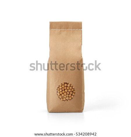 Brown craft paper tall bag with peas packaging template with stitch sewing isolated on white background. Packaging template mockup collection. With clipping Path included. Stand-up Front view package #534208942