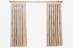 Brown curtains patterned roses on a white background.