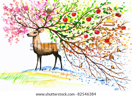 Brown deer with big, beautiful horn in fours seasons.Picture I have created with watercolors.