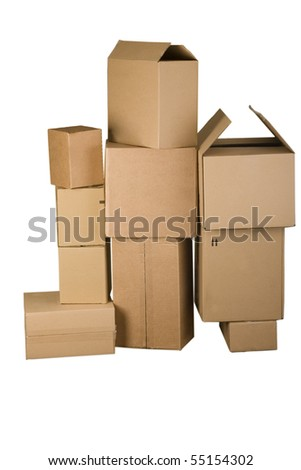 Brown different cardboard boxes arranged in stack on white background