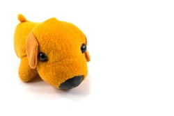 Brown dog toy isolated on white background