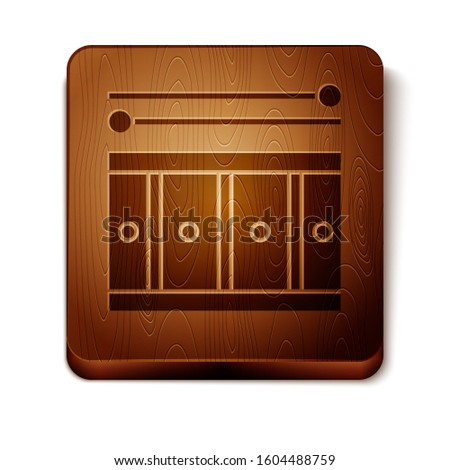 Brown Drum with drum sticks icon isolated on white background. Music sign. Musical instrument symbol. Wooden square button.