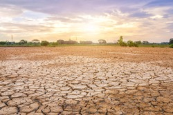 Brown dry soil or cracked ground texture on blue sky background with white clouds sunset,Global warming